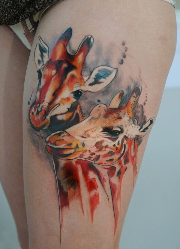 Natural looking illustrative style colored thigh tattoo of giraffe couple