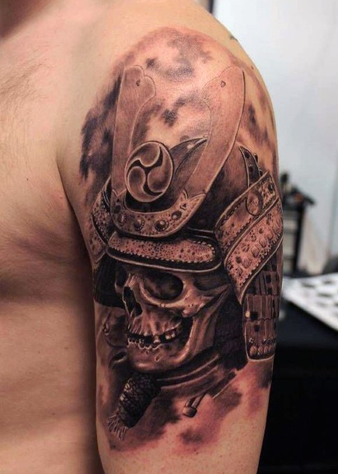 Natural looking real photo like colored samurai helmet with skull tattoo on upper arm