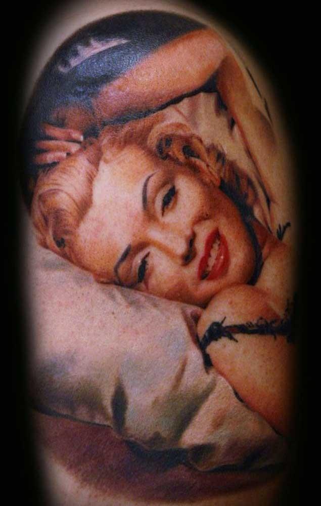 Natural looking real photo like shoulder tattoo of Merlin Monroe photo