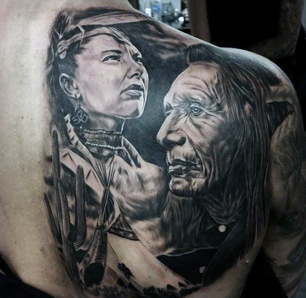 Natural looking very detailed black and white massive upper back and shoulder tattoo of old Indians portraits