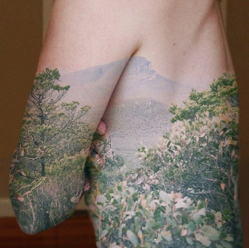 Natural looking very detailed wild blooming trees tattoo on side and forearm