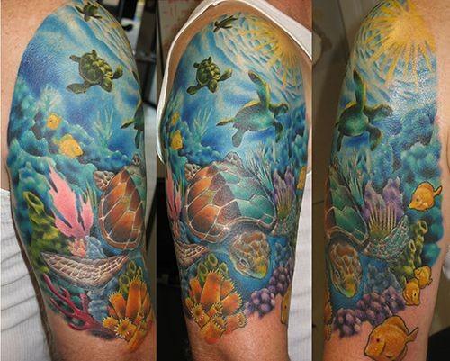 Natural looking wonderful colored underwater turtles half sleeve tattoo