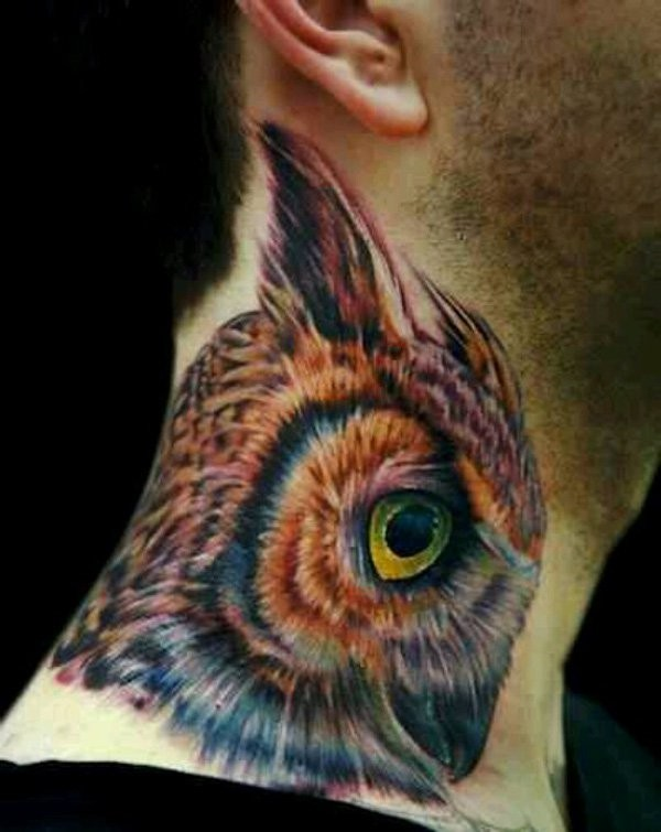Naturally colored 3D realistic lifelike owl super detailed neck tattoo