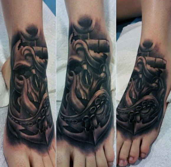 Nautical themed black ink detailed anchor with skull and octopus on foot