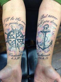 bella tema nautica semplice memoriale ancora e  bussola con lettere tatuaggio su braccio