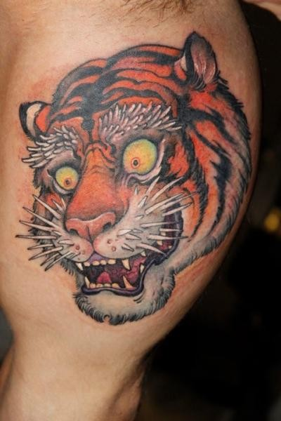 Neo japanese style colored arm tattoo of crazy tiger for Neo japanese tattoo