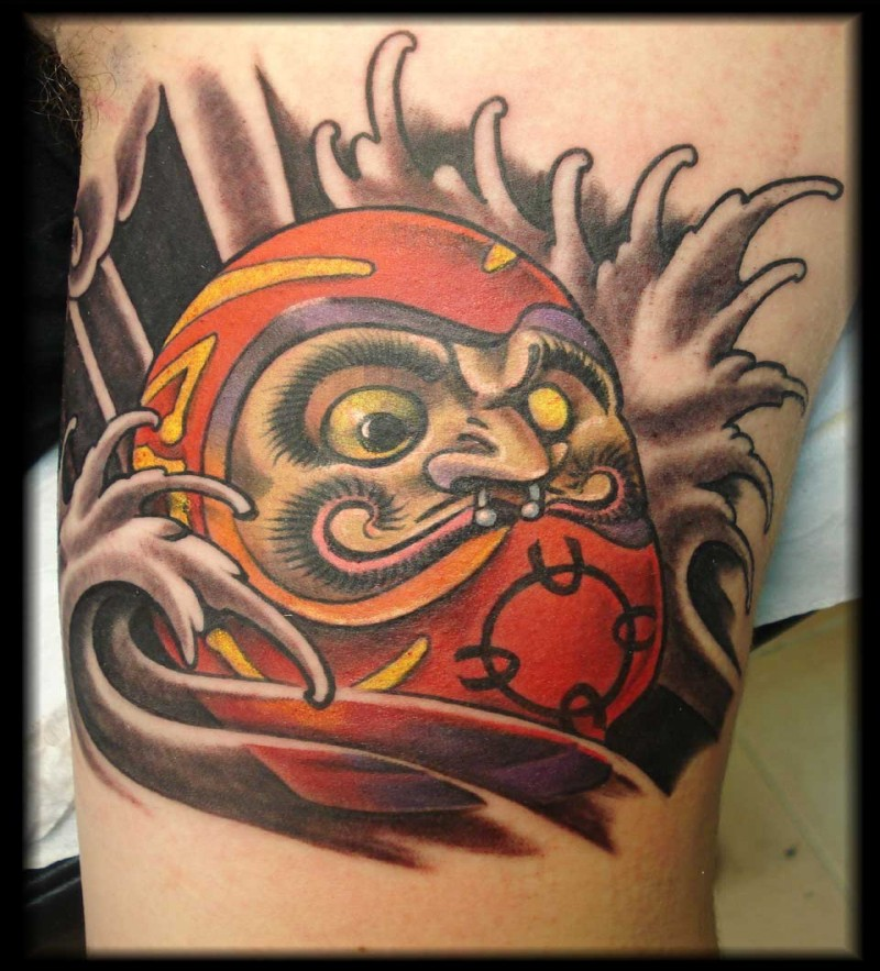 Neo japanese style colored arm tattoo of daruma doll with waves