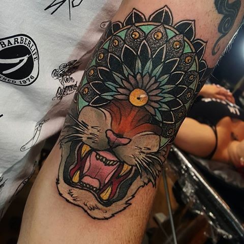 Neo japanese style colored arm tattoo of lion head with cute helmet