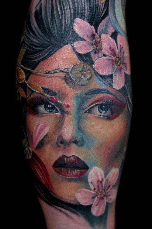 Neo japanese style colored beautiful geisha tattoo on arm with flowers