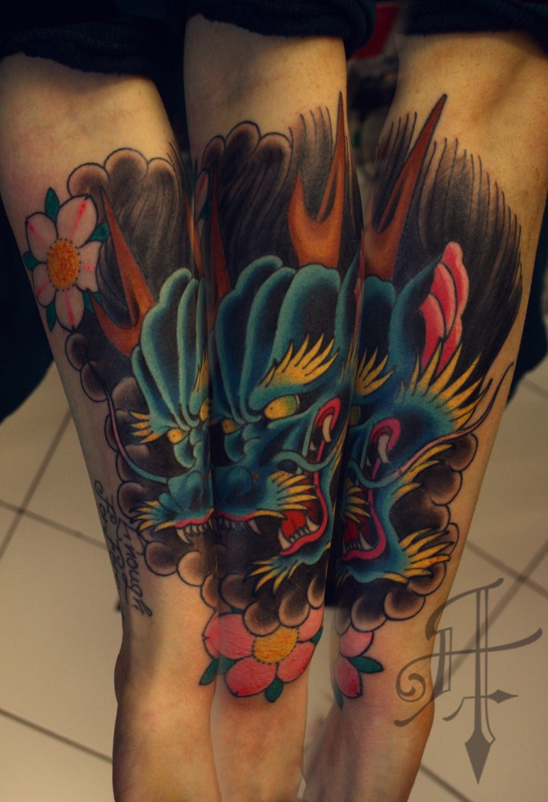 Neo japanese style colored forearm tattoo of fantasy dragon