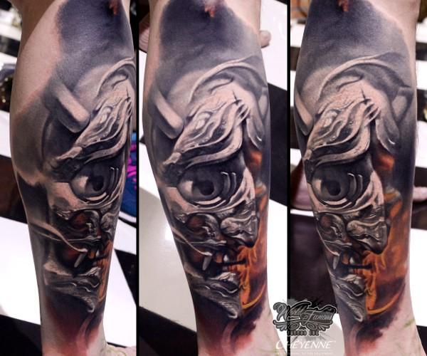 Neo japanese style colored leg tattoo of samurai mask for Neo japanese tattoo