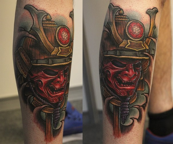 Neo japanese style colored leg tattoo of samurai mask