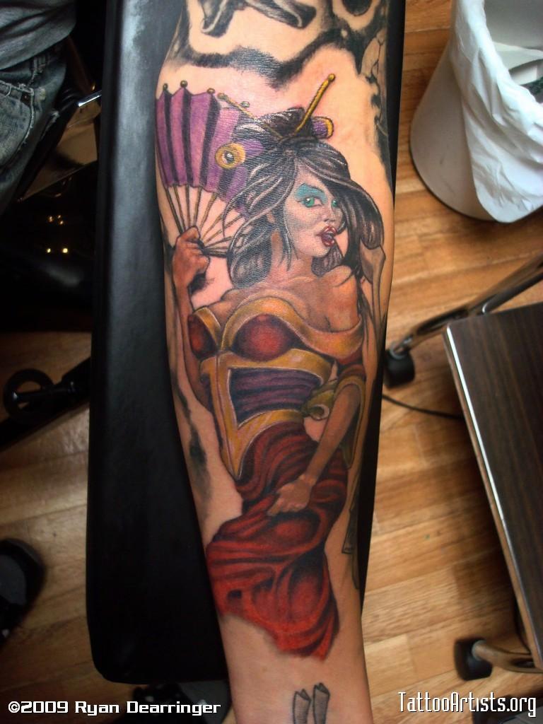 Neo japanese style colored sexy geisha tattoo on arm