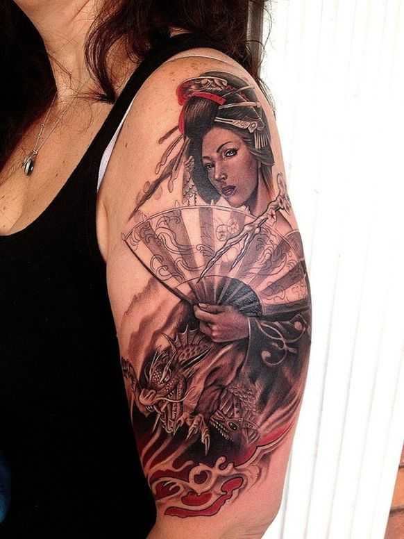 Neo Japanese style colored shoulder tattoo of geisha with big fan