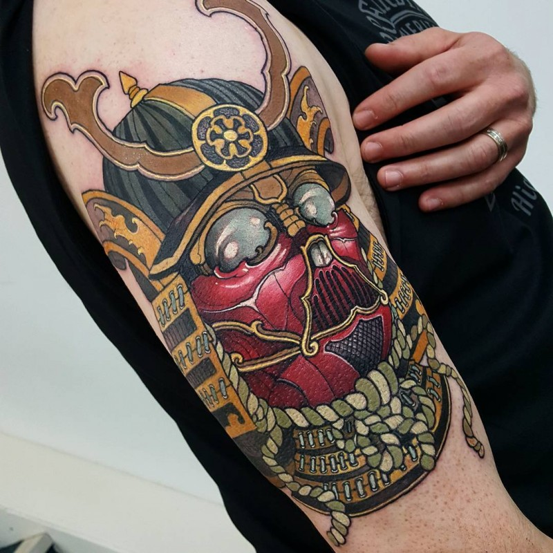neo japanese style colored shoulder tattoo of cool samurai mask