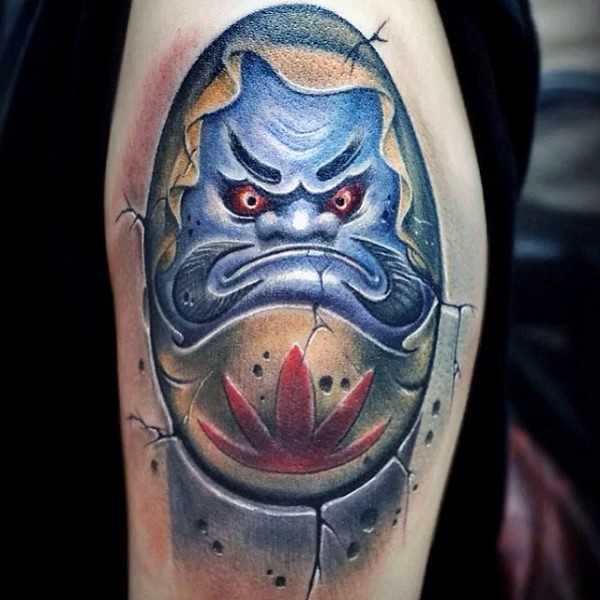 Neo japanese style colored shoulder tattoo of daruma doll with symbol