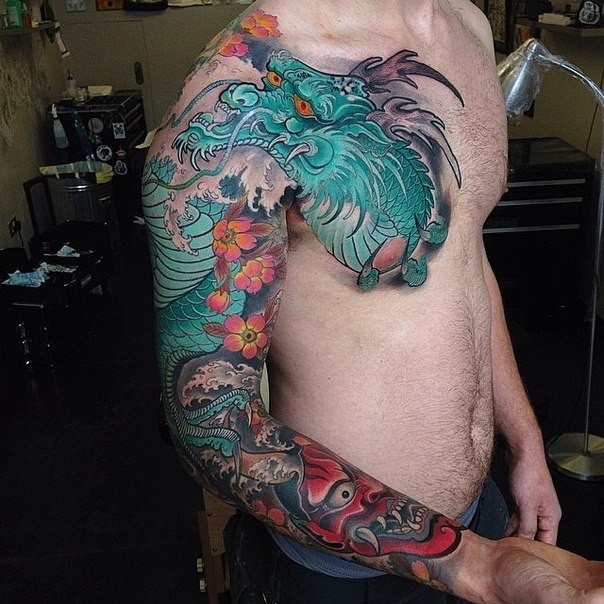 neo japanese style colored sleeve and chest tattoo of big dragon with demons mask. Black Bedroom Furniture Sets. Home Design Ideas
