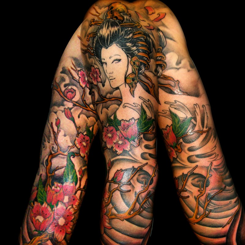 Neo Japanese Tattoo: Neo Japanese Style Colored Sleeve Tattoo Of Geisha With