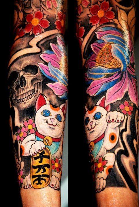 Neo japanese style colored sleeve tattoo of maneki neko japanese lucky cat with human skull