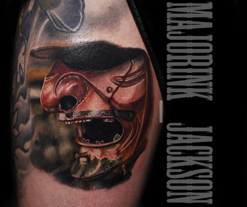 Neo japanese style colored very detailed samurai mask