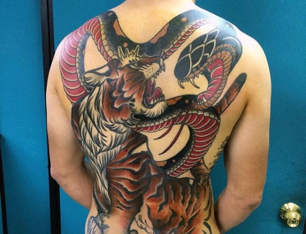 Neo japanese style colored whole back tattoo of tiger and for Neo japanese tattoo
