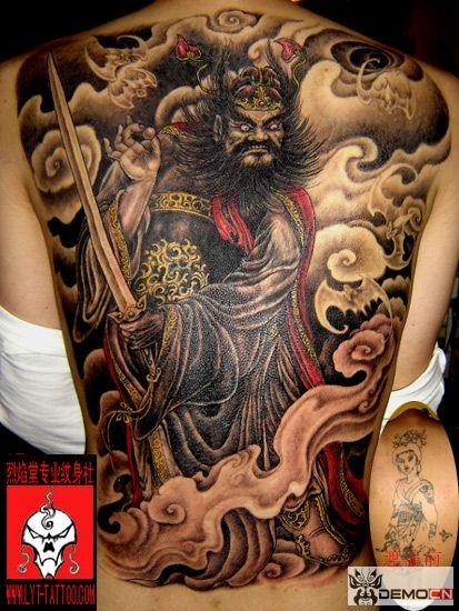 Neo japanese style colored whole back tattoo of demonic warrior with sword and fog