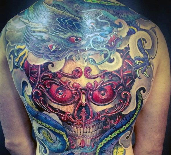 Neo japanese style colored whole back tattoo of demonic mask and big fantasy dragon