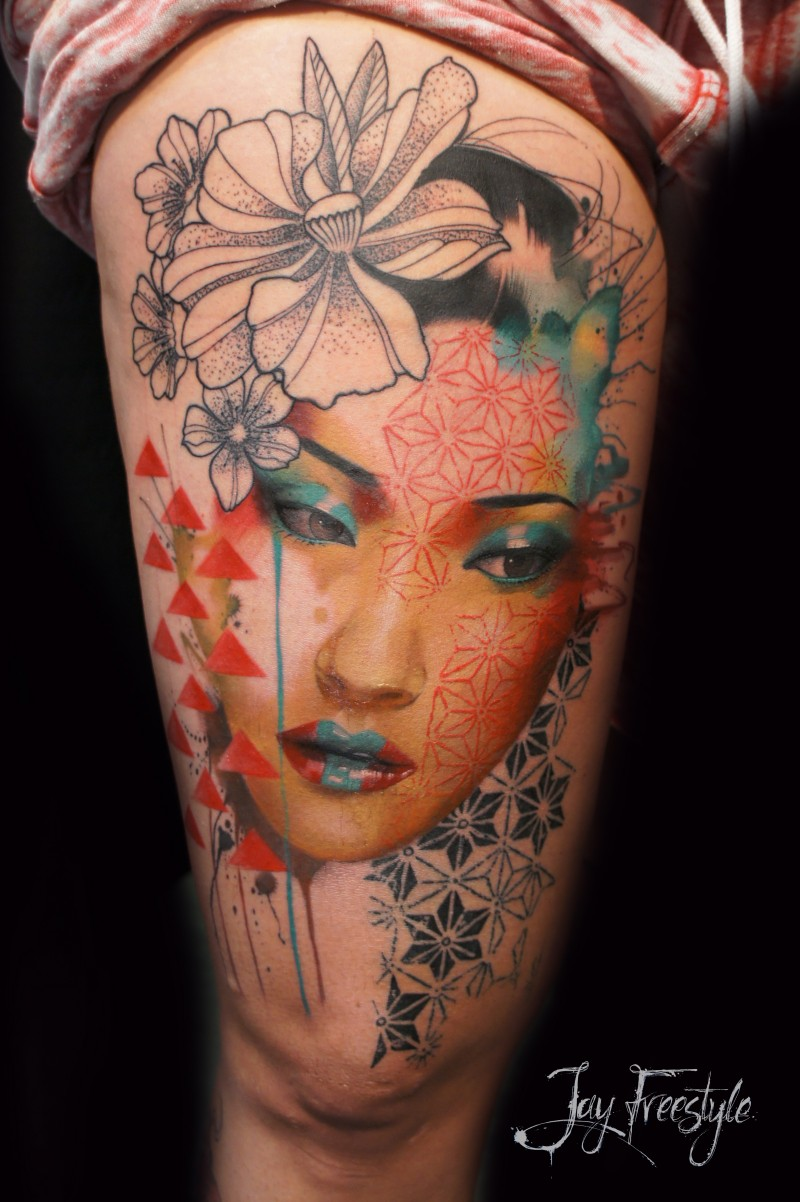 Neo japanese style half colored thigh tattoo of woman face with ornaments and flower