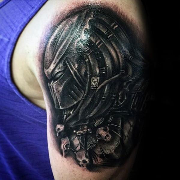 Neo style detailed shoulder tattoo of evil Predator