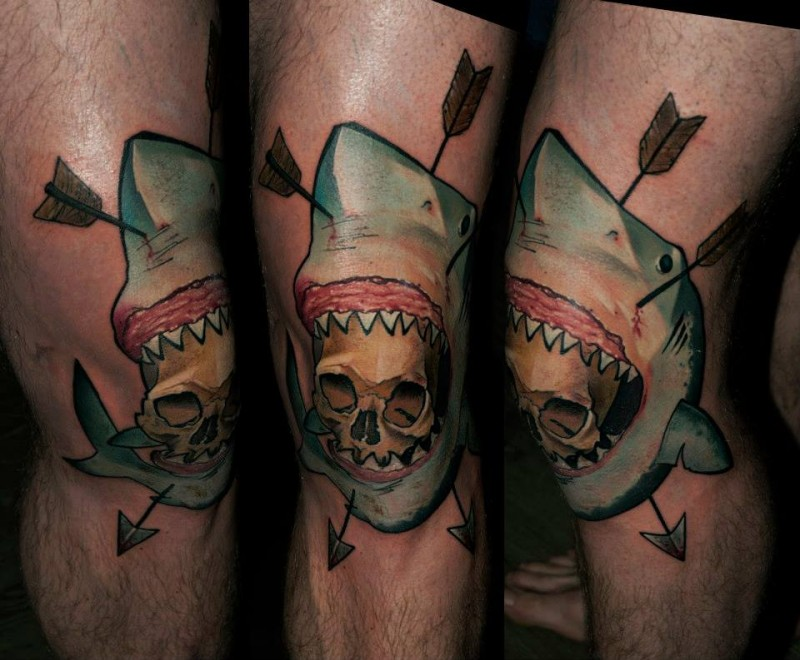Neo traditional colored knee tattoo of shark with arrows and skull