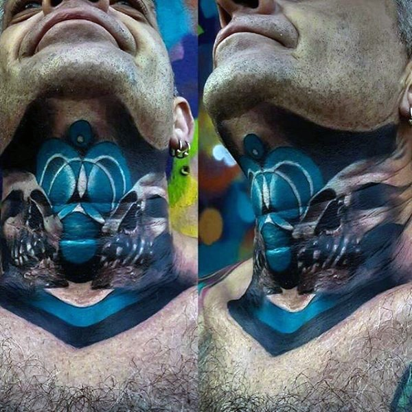 Neo traditional colored neck tattoo of human skulls