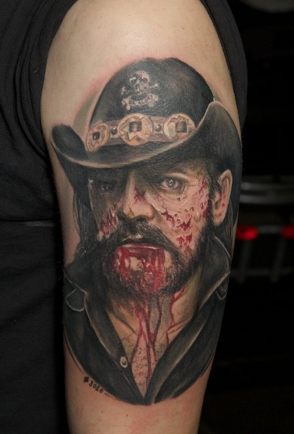 Neo traditional colored very detailed shoulder tattoo of monster zombie cowboy portrait