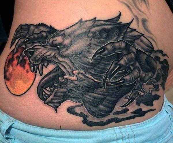 Neo traditional colored waist tattoo of dark werewolf