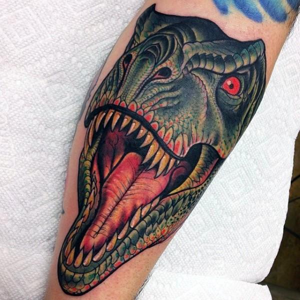 Neo traditional colorful dinosaur head
