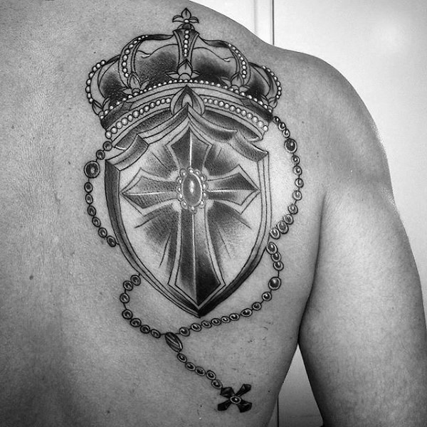 Neo traditional style black and white crown with shield tattoo on back