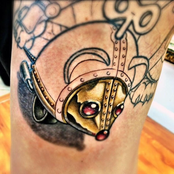 Neo traditional style colored arm tattoo of mechanical mouse toy