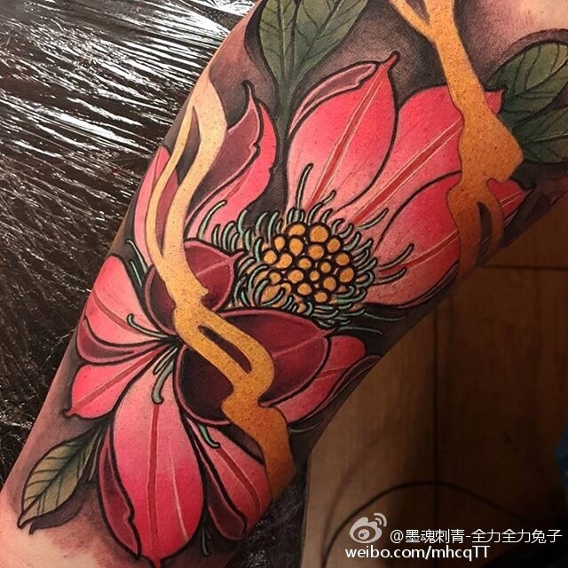 Neo traditional style colored arm tattoo of big flower with steam