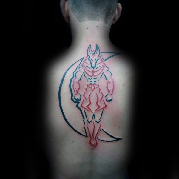 Neo traditional style colored back tattoo of Egypt God with moon
