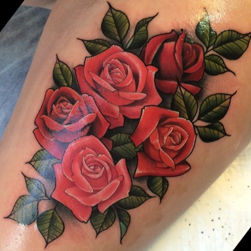 Neo traditional style colored beautiful looking rose for Neo traditional rose tattoo