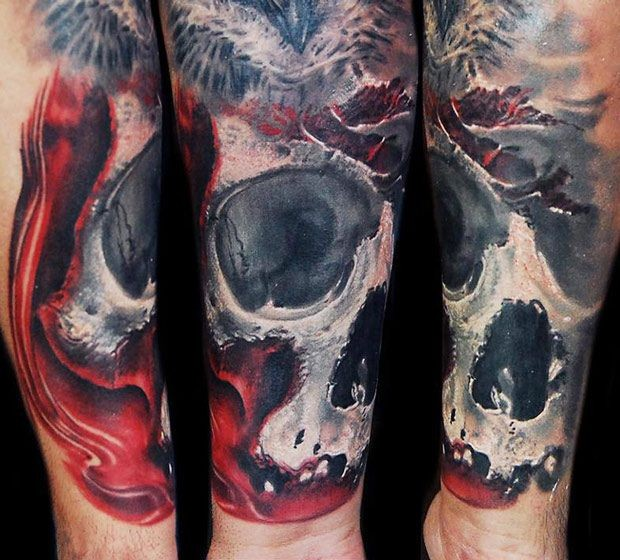Neo traditional style colored bloody skull with feather