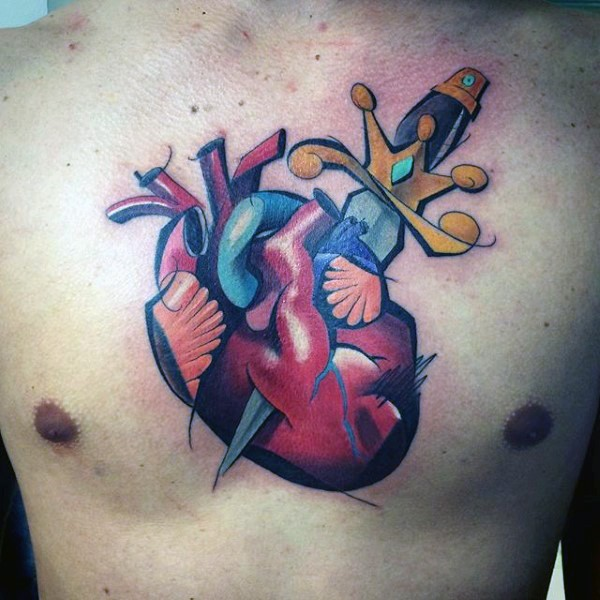 Neo traditional style colored chest tattoo of human heart with dagger