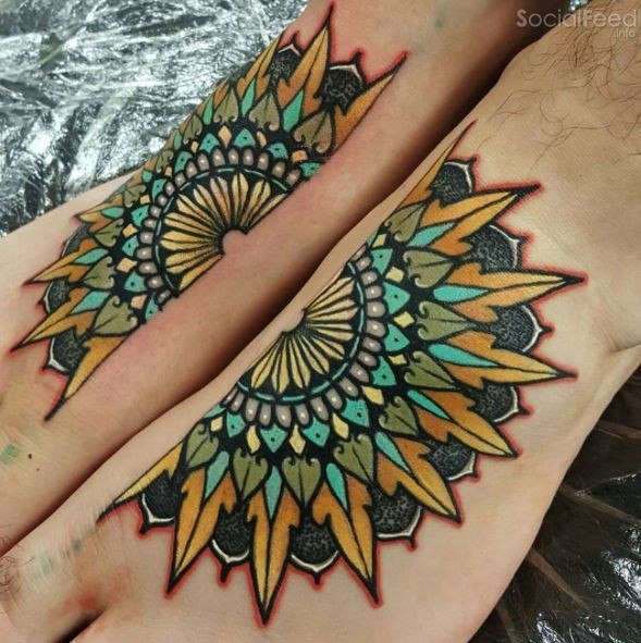 Neo traditional style colored feet tattoo of big flower