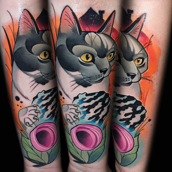 Neo traditional style colored forearm tattoo of sweet cat with flower