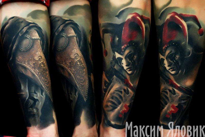 Neo traditional style colored forearm tattoo of mystical human with bird shaped mask and clown