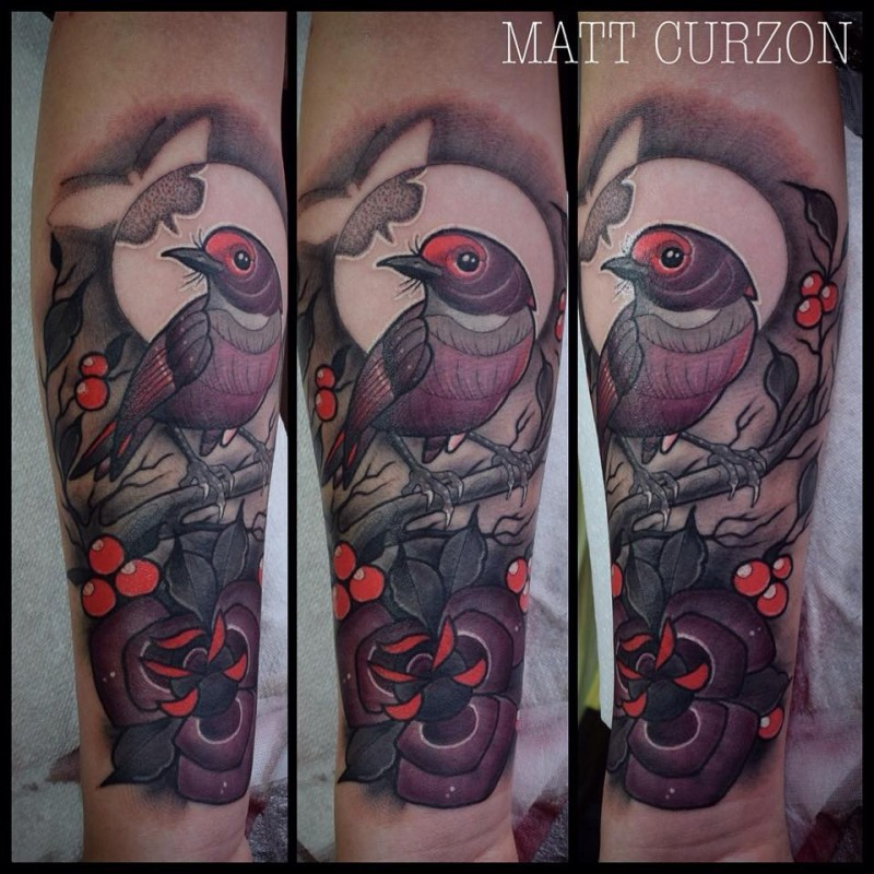 Neo traditional style colored forearm tattoo of big bird with flower and butterfly