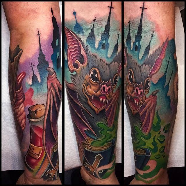 Neo traditional style colored forearm tattoo of creepy bat with night city