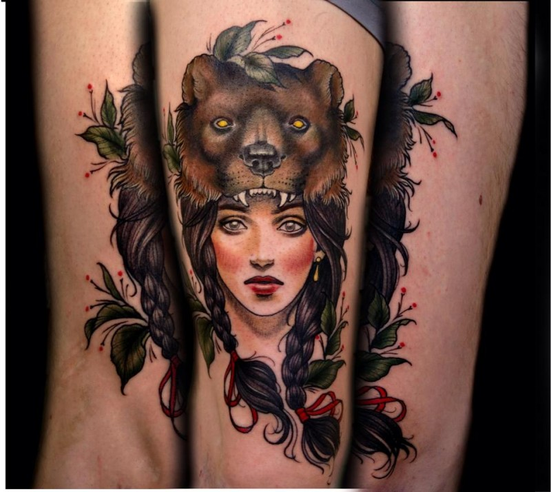 Neo traditional style colored leg tattoo of mystic woman win bear helmet