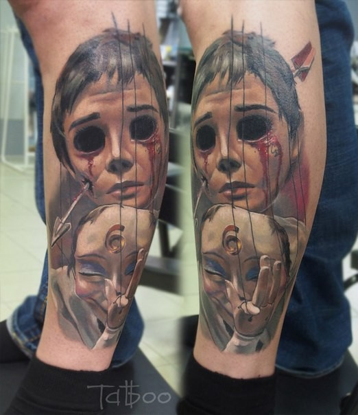 Neo traditional style colored leg tattoo of horror boy with arrow and mask