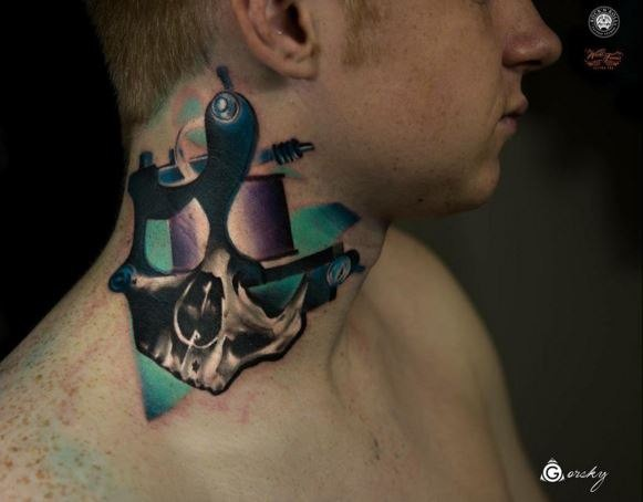 Neo traditional style colored neck tattoo of geometrical figures with human skull