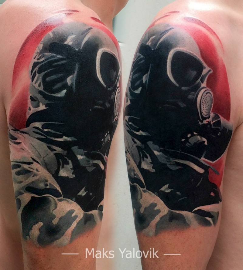 Neo traditional style colored shoulder tattoo with soldier with gas mask